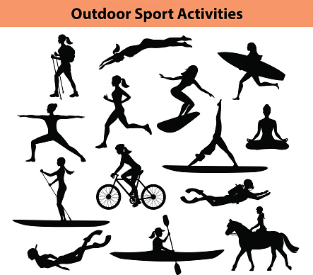 Outdoor Training Sport Activities. Female Silhouette.  Woman Swimming, Trekking, Running, Cycling, Doing Yoga, Hiking, Scuba Diving, Kayaking