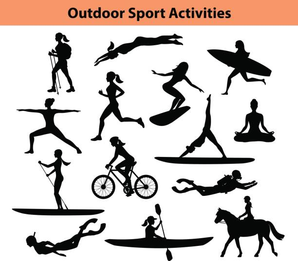outdoor-training sportaktivitäten. weibliche silhouette.  frau, schwimmen, wandern, laufen, radfahren, yoga, wandern, tauchen, kajak zu tun - joggerin stock-grafiken, -clipart, -cartoons und -symbole