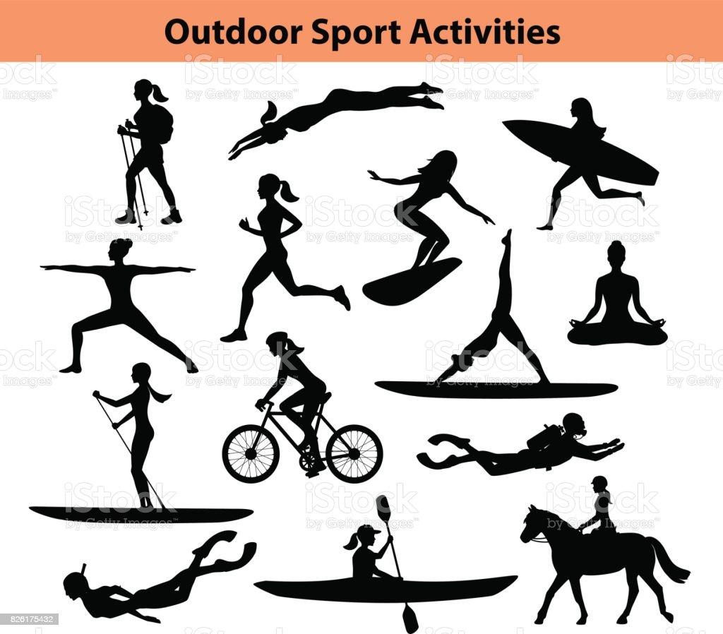 Activités sportives de plein air formation. Silhouette féminine.  Femme, natation, randonnée, course, vélo, faire du Yoga, randonnée pédestre, plongée sous-marine, kayak - Illustration vectorielle