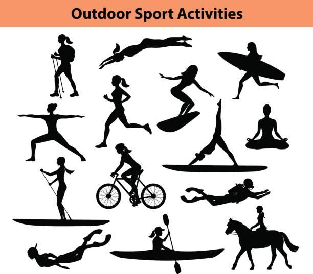 illustrations, cliparts, dessins animés et icônes de activités sportives de plein air formation. silhouette féminine.  femme, natation, randonnée, course, vélo, faire du yoga, randonnée pédestre, plongée sous-marine, kayak - sports de pagaie