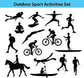 Outdoor Training Sport Activities. Male Silhouette.