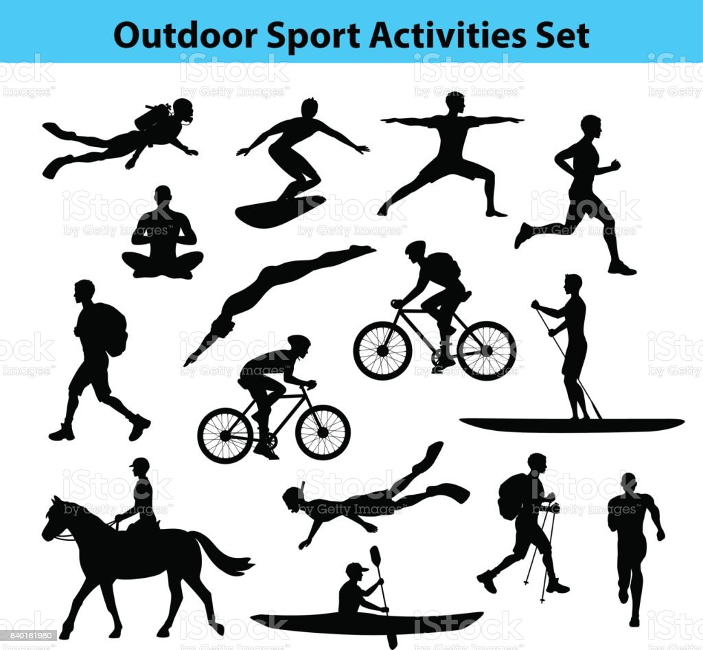 Activités sportives de plein air formation. Silhouette masculine. - Illustration vectorielle