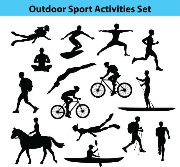 Outdoor Training Sport Activities. Male Silhouette. Outdoor Training Sport Activities. Male Silhouette.  Man Swimming, Trekking, Running, Cycling, Doing Yoga, Hiking, Diving, Kayaking, Stand up paddle boarding, Surfing, Scuba diving, Snorkeling, Horse Riding diving into water stock illustrations