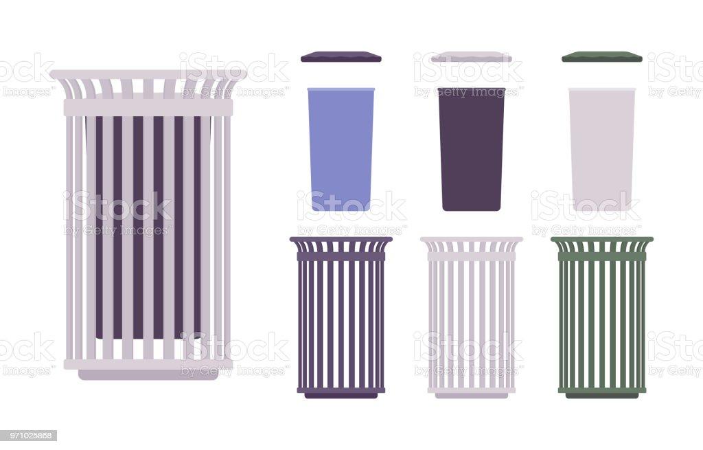 Conjunto de bin de lixo ao ar livre - ilustração de arte em vetor