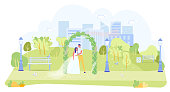 Outdoor Wedding Open Ceremony in Garden or Green Park. Elegant Loving Bride and Groom Couple Hugging Standing under Floral Arch. Urban Landscape with Skyscrapers on Backdrop. Vector Illustration