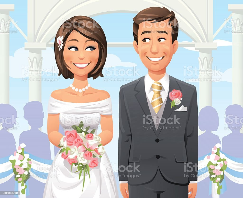 Outdoor Wedding Ceremony vector art illustration