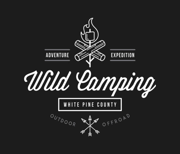 Outdoor wild camping white pine county white on black vector art illustration