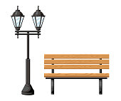 Outdoor wood bench and metal street light front view object for park cottage and yard vector illustration isolated on white background website page and mobile app design