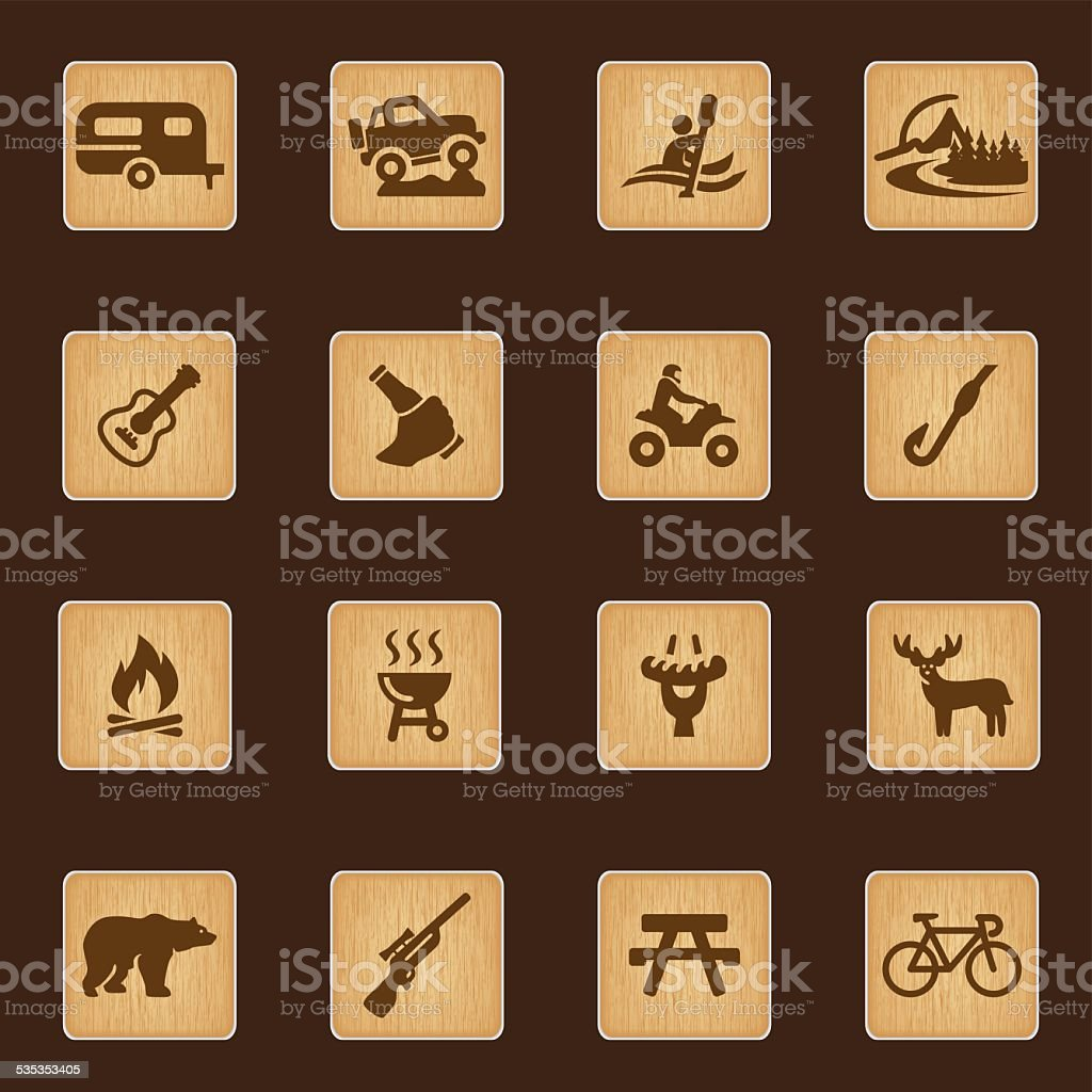 Outdoors and Adventure wood texture icons| EPS10 vector art illustration