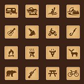 Outdoors and Adventure wood texture icons| EPS10