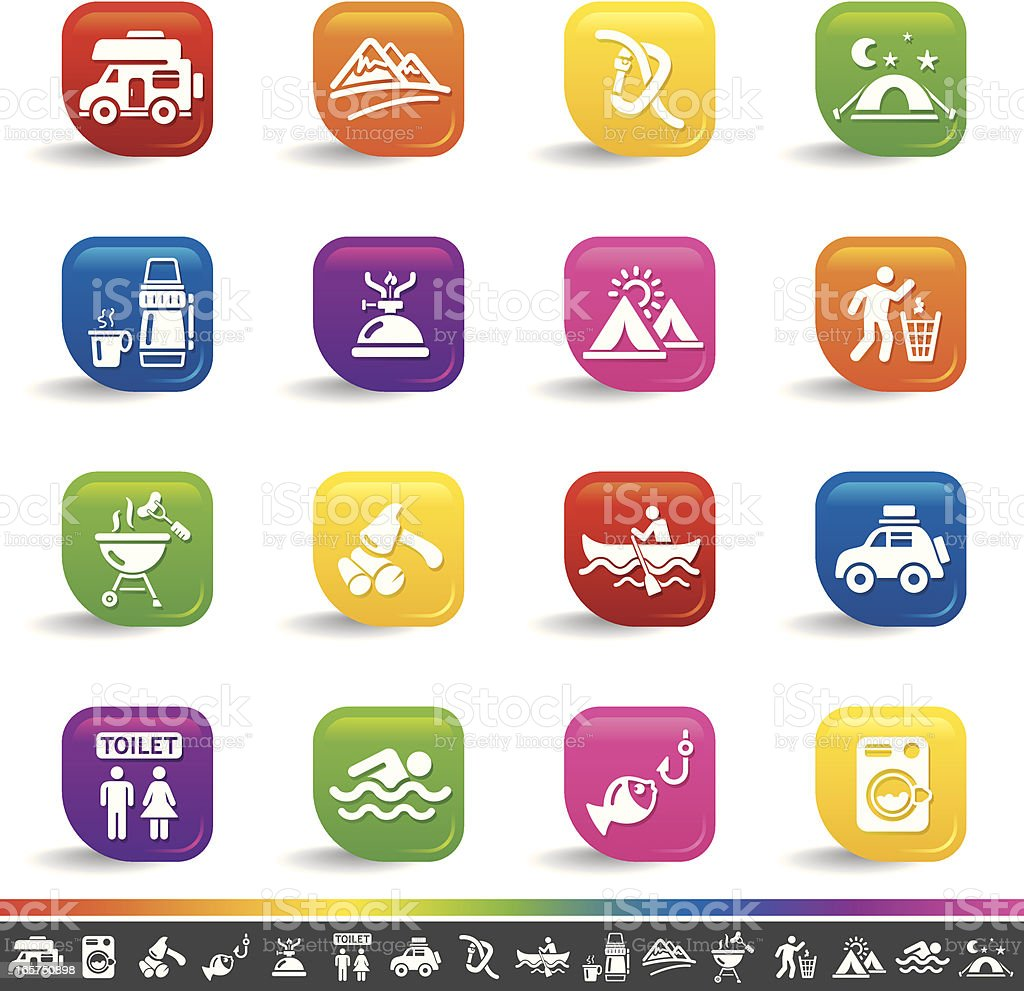 Outdoors and camping icons | Rainbow Series royalty-free stock vector art