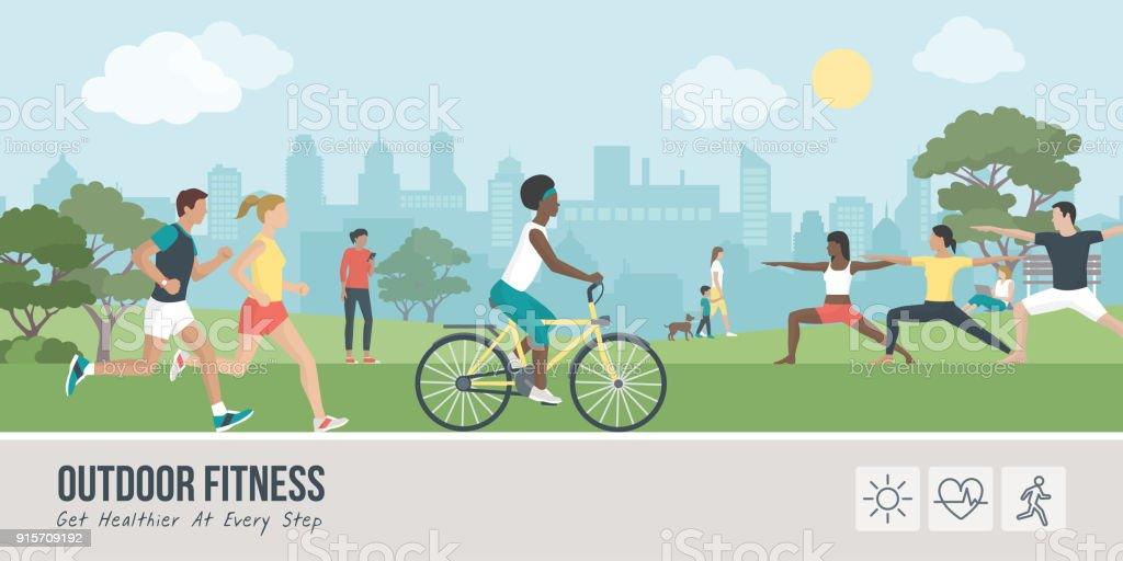 Outdoors fitness and sports vector art illustration