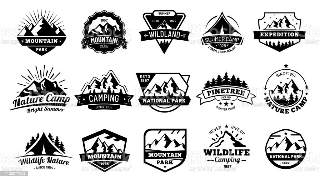 Emblemas exteriores da natureza. Emblema da aventura, etiqueta do deserto do vintage e outdooring que acampa o emblema - Vetor de Acampar royalty-free