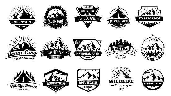 Outdoors nature badges. Adventure emblem, vintage wilderness label and outdooring camping badge vector illustration set clipart
