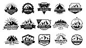 Outdoors nature badges. Adventure emblem, vintage wilderness label and outdooring camping badge. Mountain tourism, forest adventure patches. Vector illustration isolated icons set