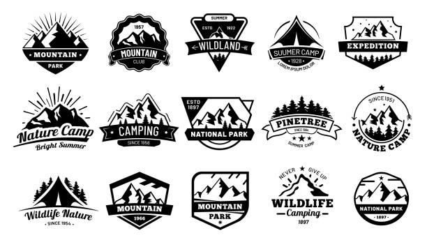 plenerowe odznaki przyrody. godło przygody, etykieta vintage wilderness i na zewnątrz camping odznaka wektorowy zestaw ilustracji - przypinka stock illustrations
