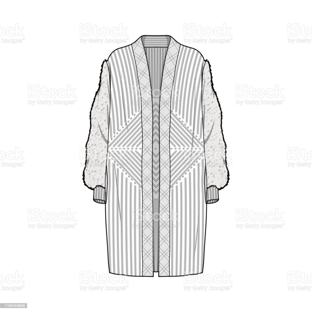 Outer Jacket Fashion Flat Sketch Template Stock Illustration Download Image Now Istock
