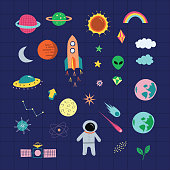 Outer space astrological graphic set