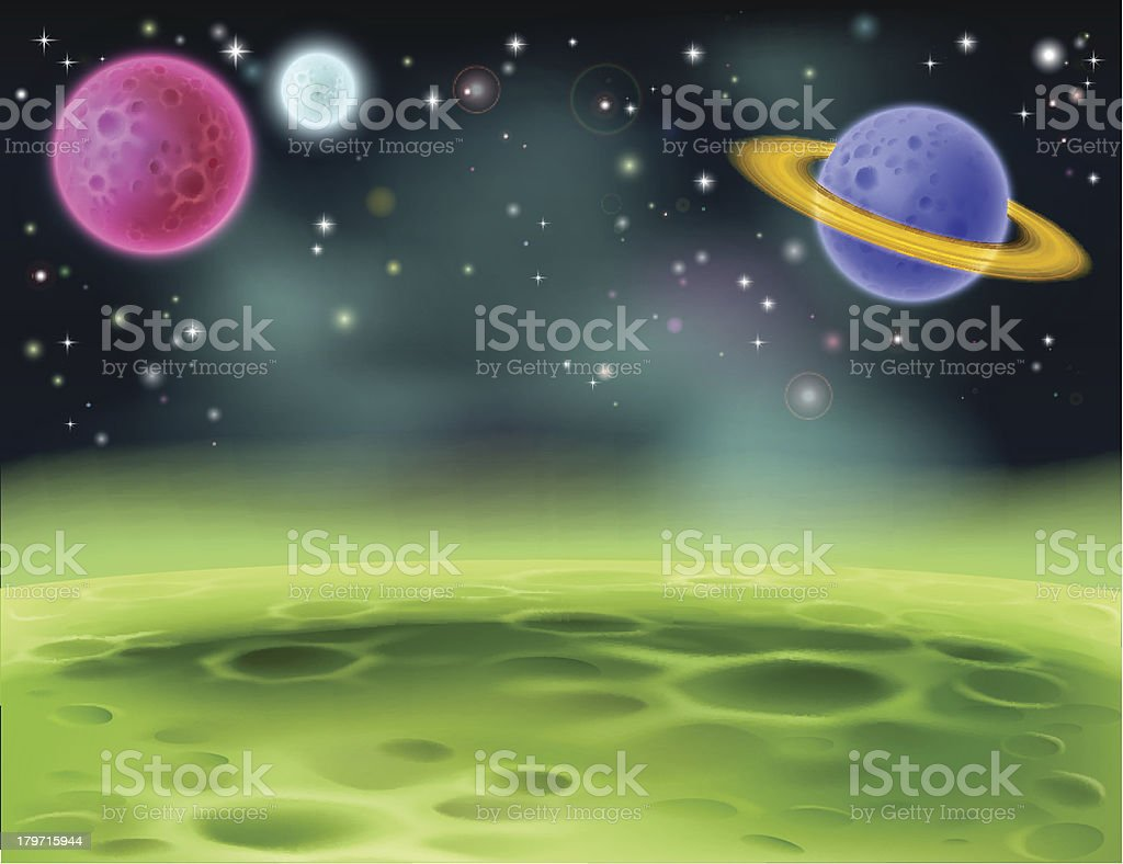 Outer Space Cartoon Background vector art illustration
