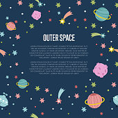 Outer Space Cartoon Vector Web Template