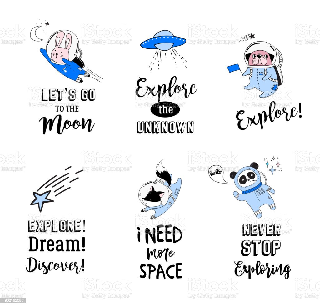 Outer Space Concept Quotes Cute Animals Astronauts In Helmets Creative Nursery Designs Perfect