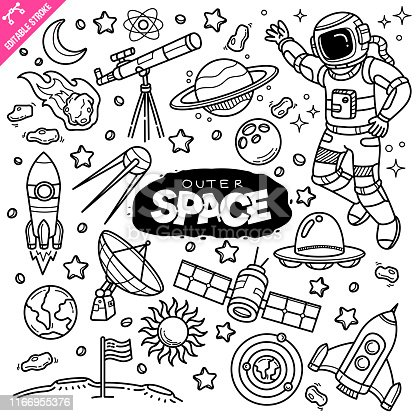 Outer space related objects and elements collection. Hand drawn doodle illustration isolated on white background. Vector doodle illustration with editable stroke/outline.