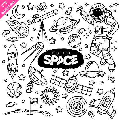 Outer Space Editable Stroke Doodle Vector Illustration.