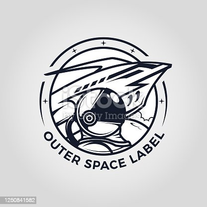 istock Outer space emblem with astronaut and spaceship cut out vector 1250841582