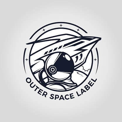 Outer space emblem with astronaut and spaceship cut out vector