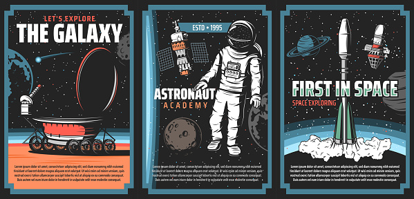 Outer space explore, vector retro vintage posters