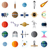 A set of outer space icons isolated on a transparent background. Can be placed onto any color.