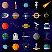 A set of outer space icons. The background is a gradient mesh and can easily be removed.