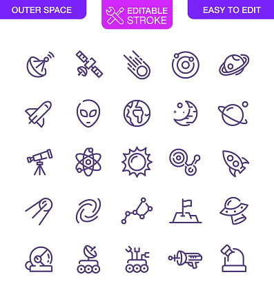 Outer Space Icons Set Editable Stroke