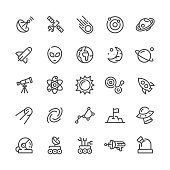 Outer Space vector icons set.