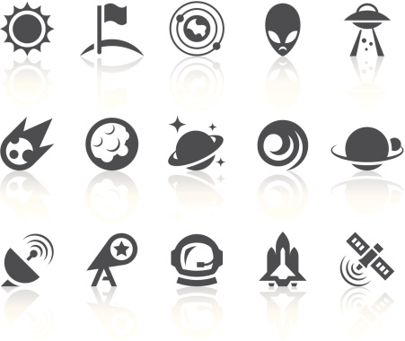 Outer Space Icons   Simple Black Series