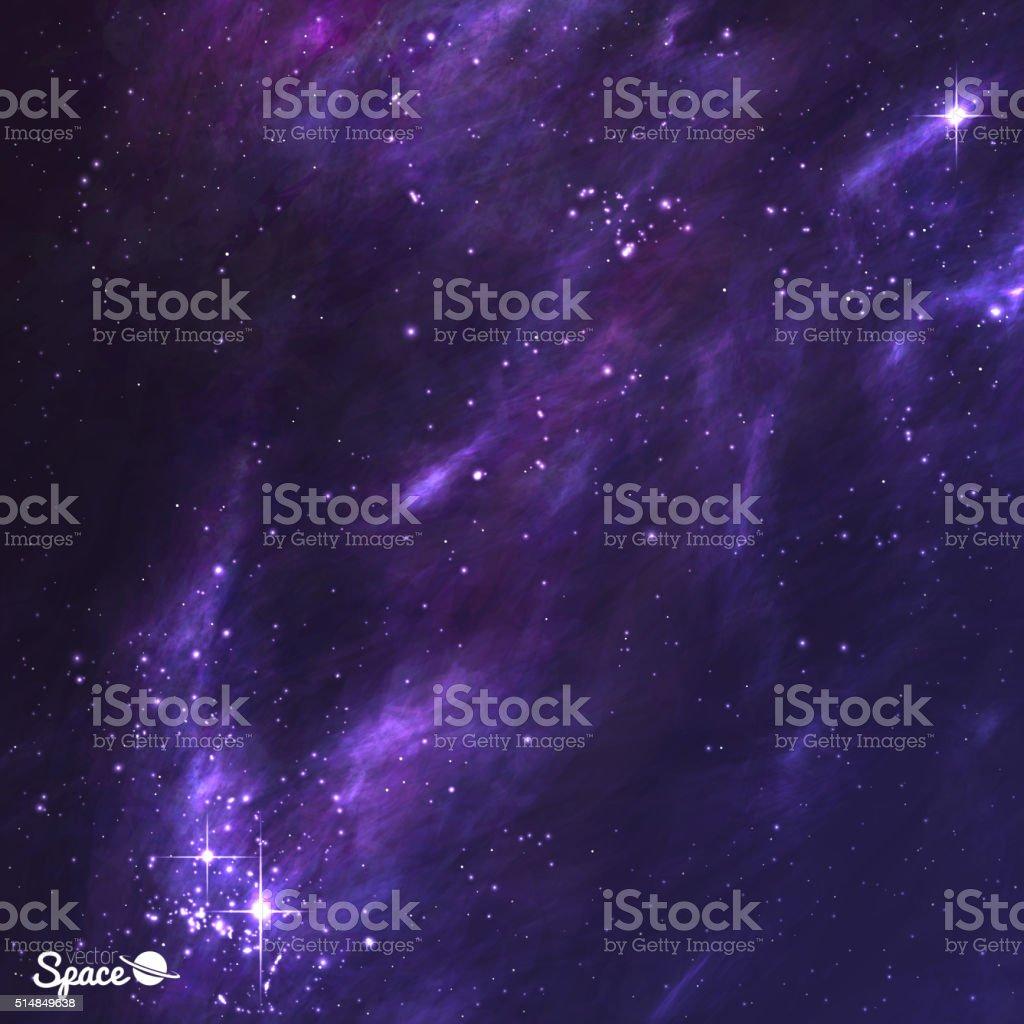 Weltraum Abbildung mit Nebel, Stardust und funkelnden Sternenhimmel. Vektor – Vektorgrafik