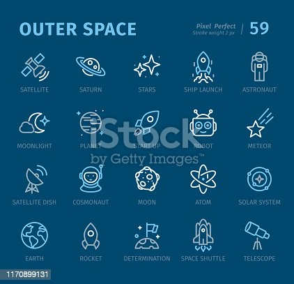 Outer Space - 20 three-color outline icons with captions / Pixel Perfect Set #59 / Icons are designed in 48x48pх square, outline stroke 2px.  First row of outline icons contains: Satellite, Saturn, Stars, Launch, Astronaut;  Second row contains: Moonlight, Planet, Start Up, Robot, Meteor;  Third row contains: Satellite Dish, Cosmonaut, Asteroid, Atom, Solar System;  Fourth row contains: Earth, Rocket, Settlement, Space Shuttle, Telescope.  Complete Captico icons collection - https://www.istockphoto.com/collaboration/boards/L98ewPMHpUStg1uF0pmcYg