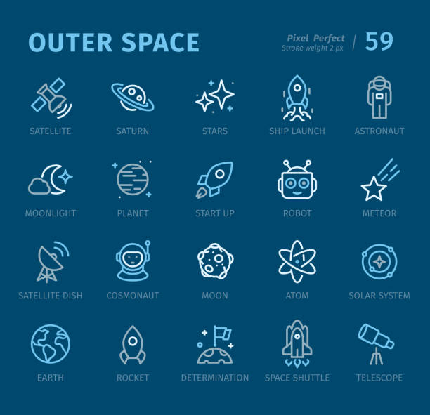 outer space - outline icons with captions - astronomy telescope stock illustrations
