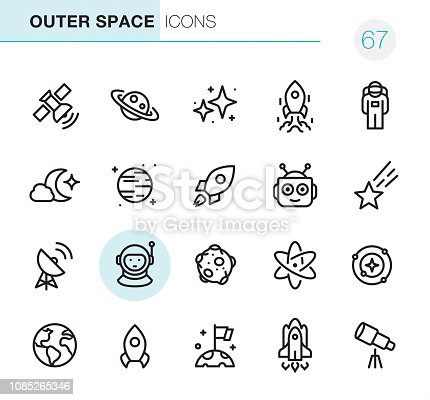 20 Outline Style - Black line - Pixel Perfect icons / Set #67 Outer Space Icons are designed in 48x48pх square, outline stroke 2px.  First row of outline icons contains:  Satellite, Saturn, Star Shape, Ship Launch, Astronaut;   Second row contains:  Moonlight, Planet - Space, Start Up, Robot, Meteor;  Third row contains:  Satellite Dish, Cosmonaut, Moon, Atom, Solar System;   Fourth row contains:  Planet Earth, Rocket, Determination, Space Shuttle, Telescope.  Complete Primico collection - https://www.istockphoto.com/collaboration/boards/NQPVdXl6m0W6Zy5mWYkSyw