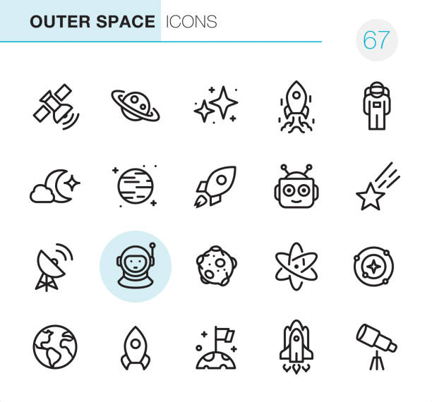 outer space - pixel perfect icons - astronomy telescope stock illustrations