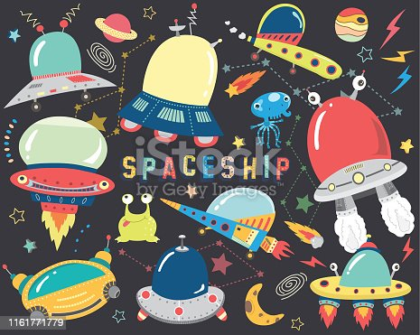 A vector illustration of Outer space- Spaceship Elements. Perfect for Outer space theme, birthday, party, holiday, card and many more.