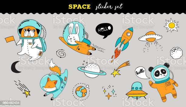 Outer space sticker collection cute animals illustrations vector id986460434?b=1&k=6&m=986460434&s=612x612&h=0y7a3t3cdwmavknk 9ydpdsok4fv3bkpzpg5gszqxeg=