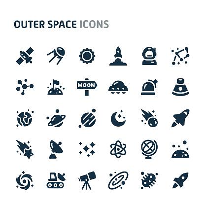 Outer Space Vector Icon Set. Fillio Black Icon Series.