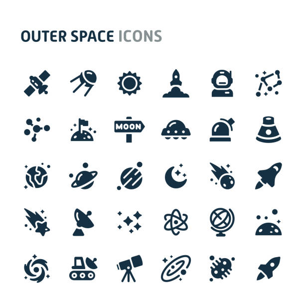 Outer Space Vector Icon Set. Fillio Black Icon Series. Simple bold vector icons related to galaxy and outer space. Symbols such as planets, stars and solar system are included in this set. Editable vector, still looks perfect in small size. space stock illustrations