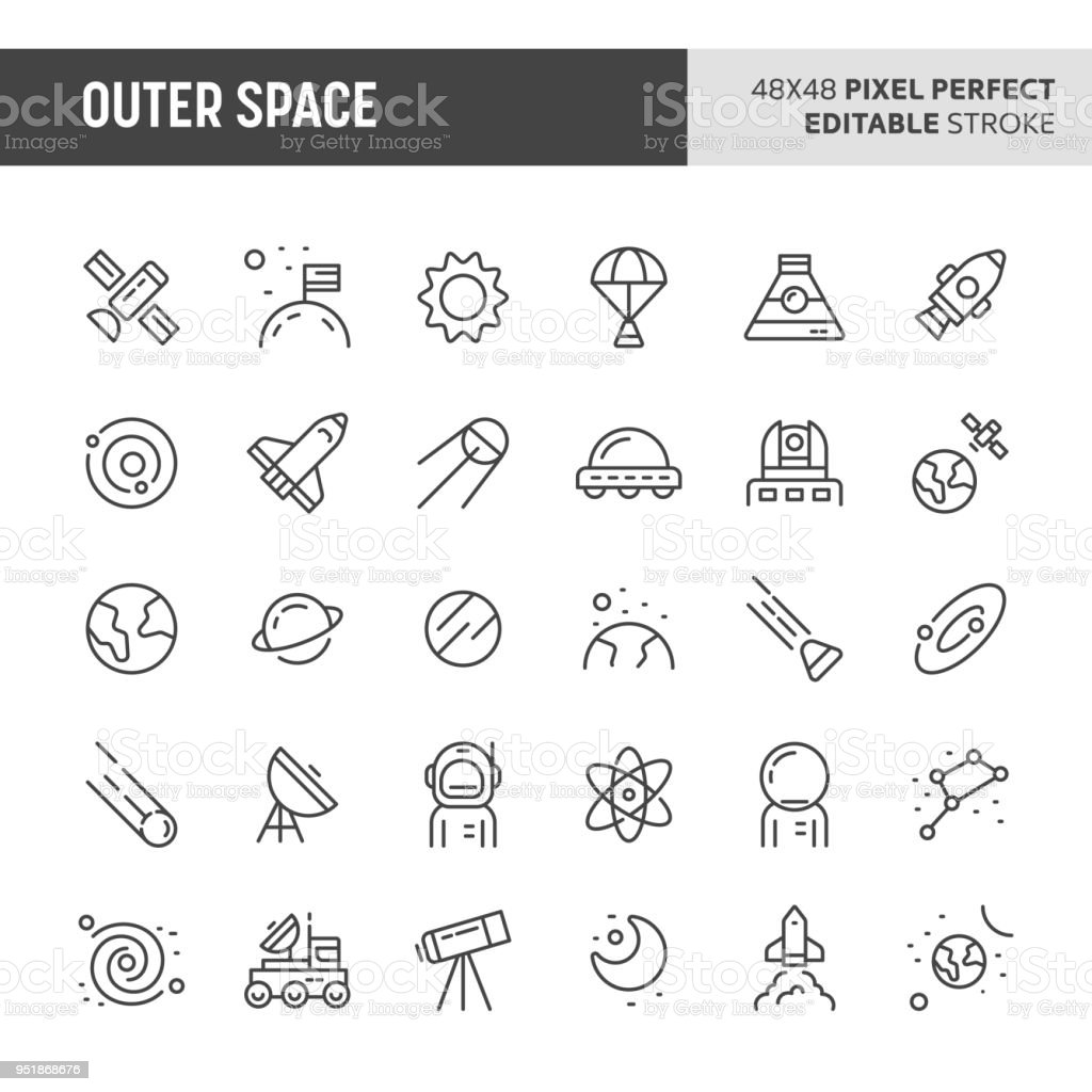 Weltraum-Vektor-Icon-Set – Vektorgrafik