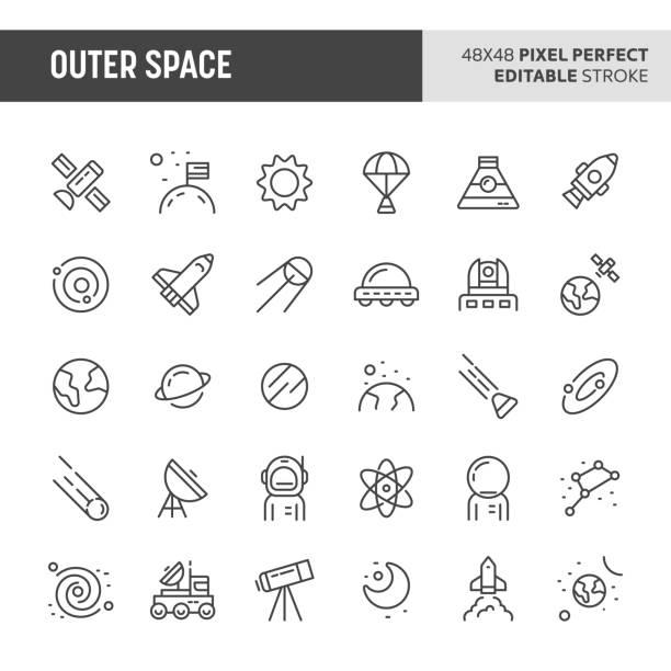 stockillustraties, clipart, cartoons en iconen met outer space vector icon set - ruimte exploratie