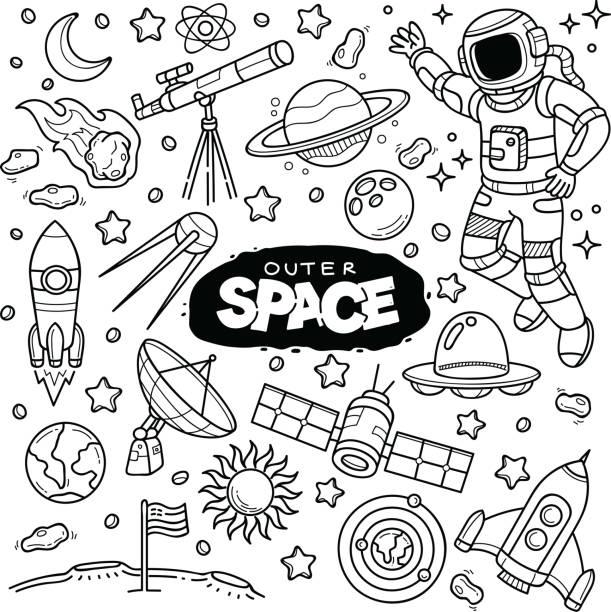 stockillustraties, clipart, cartoons en iconen met outer space - raket ruimteschip