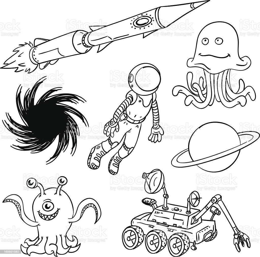 Outerspace and aliens collection vector art illustration