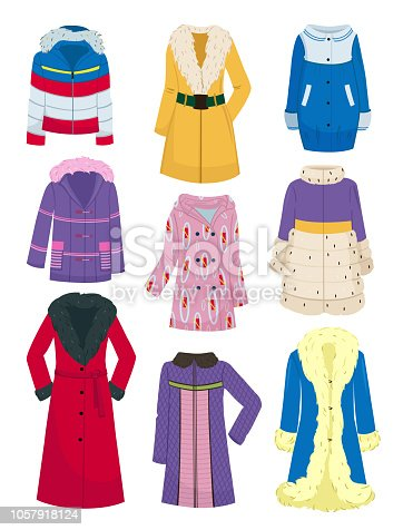 Set of outerwear for women, autumn and winter seasons, different models, isolated on white background