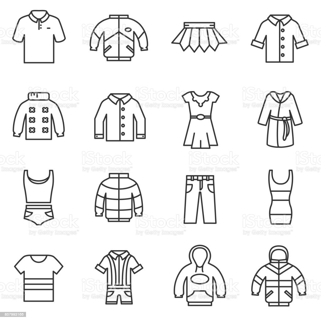 outerwear icons set. vector art illustration